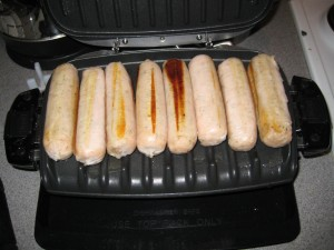 George Foreman Cooking Sausages