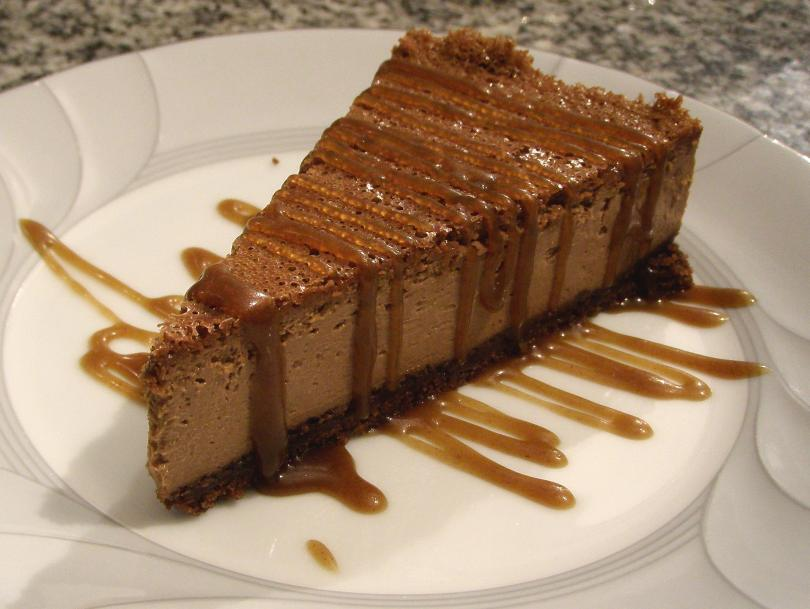 Dan's chocolate cheesecake with butterscotch sauce.