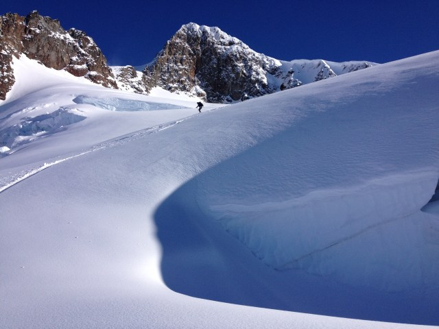 Chris skiing down the Overlord glacier like a boss!