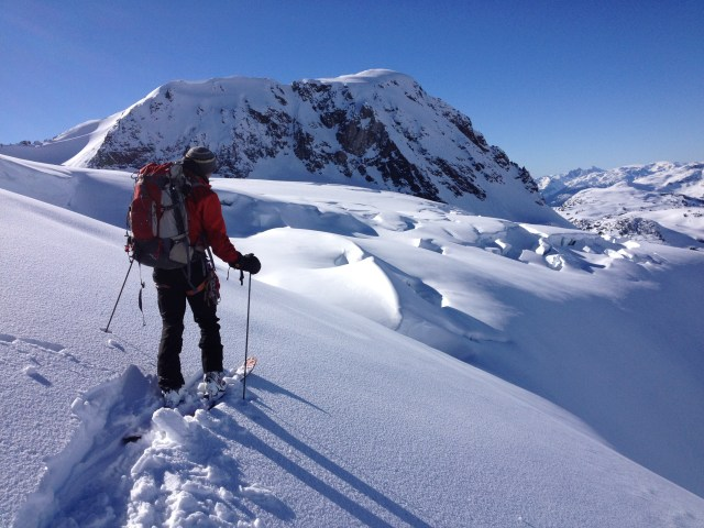 Overlooking Overlord glacier, with Fissile Peak in background