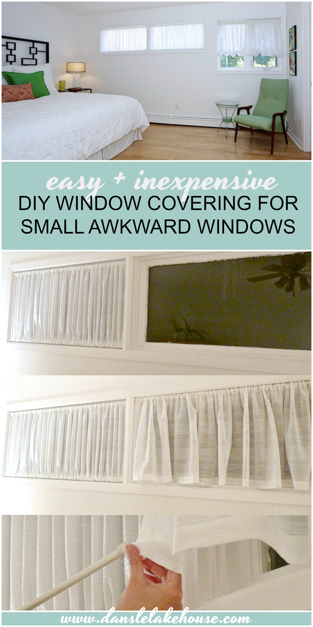 DIY Window Covering for Awkward Windows | Ruched Curtain DIY