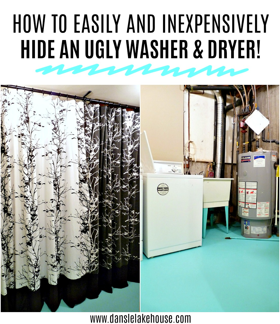 How to Hide an Ugly Washer and Dryer with an Upcyled Curtain. Budget-Friendly Laundry Room Makeover Idea! #laundroom #upcycle #savingmoney #budgethomedecor