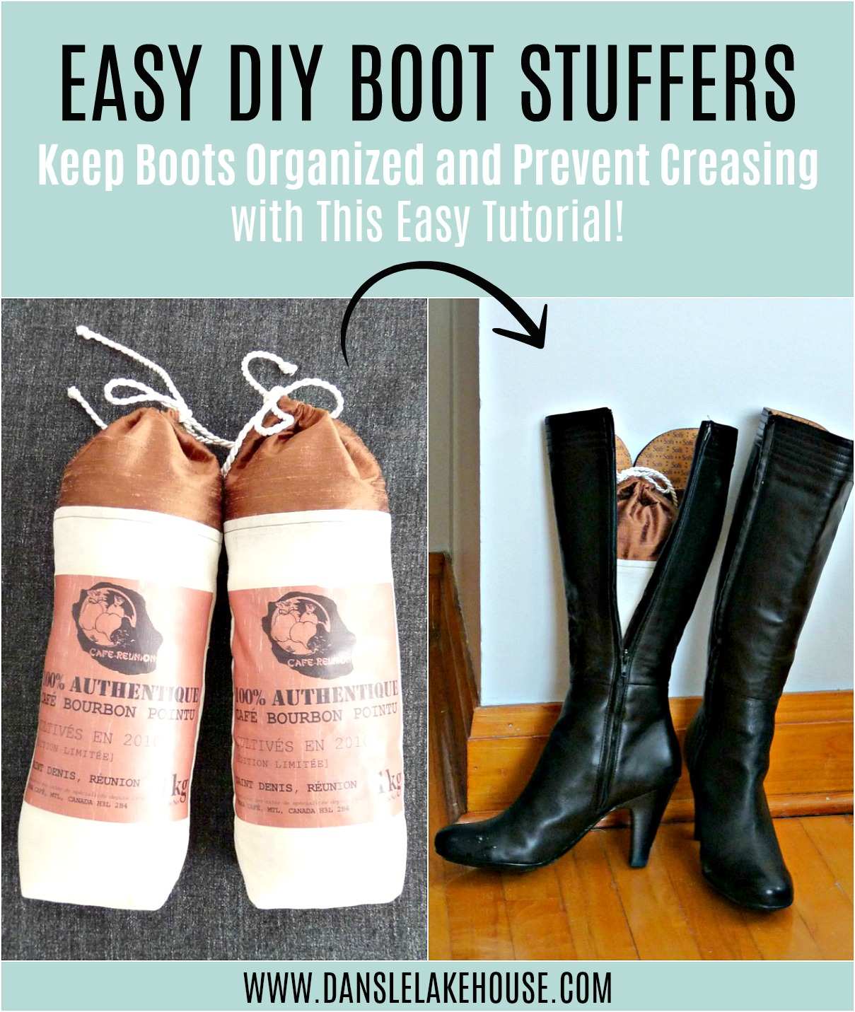 How to Make Easy DIY Boot Stuffers. Sew Your Own Boot Shapers Using Scrap Fabric and Add Essential Oils or Dried Lavender. #diy #organizing #bootshapers #bootstuffers #sewingprojects