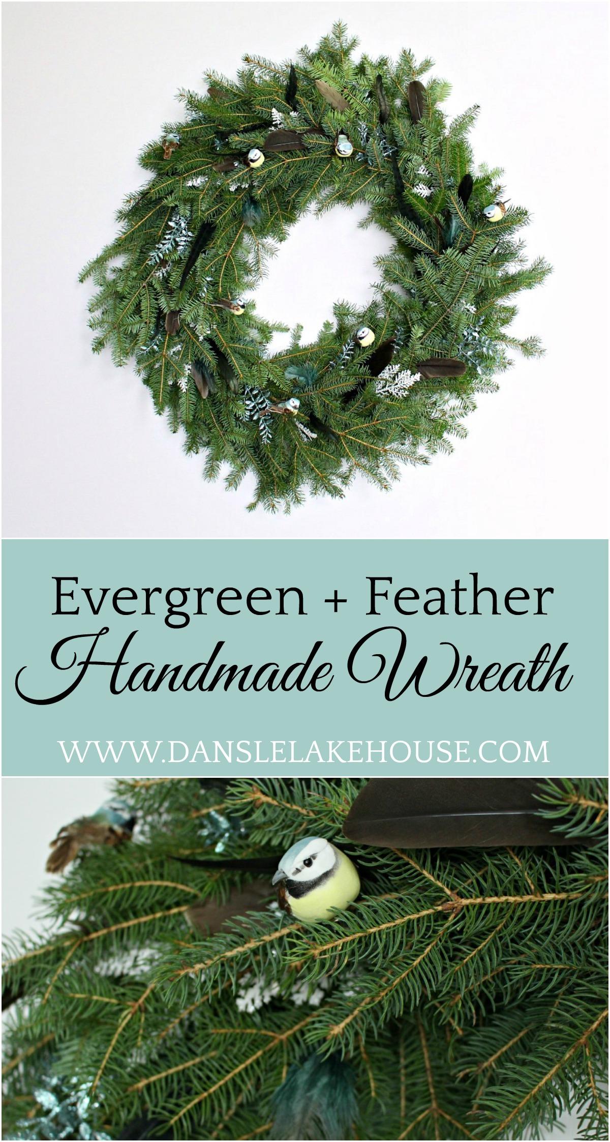 DIY Evergreen Wreath with Feathers + Birds | Zero Waste Holiday Decor