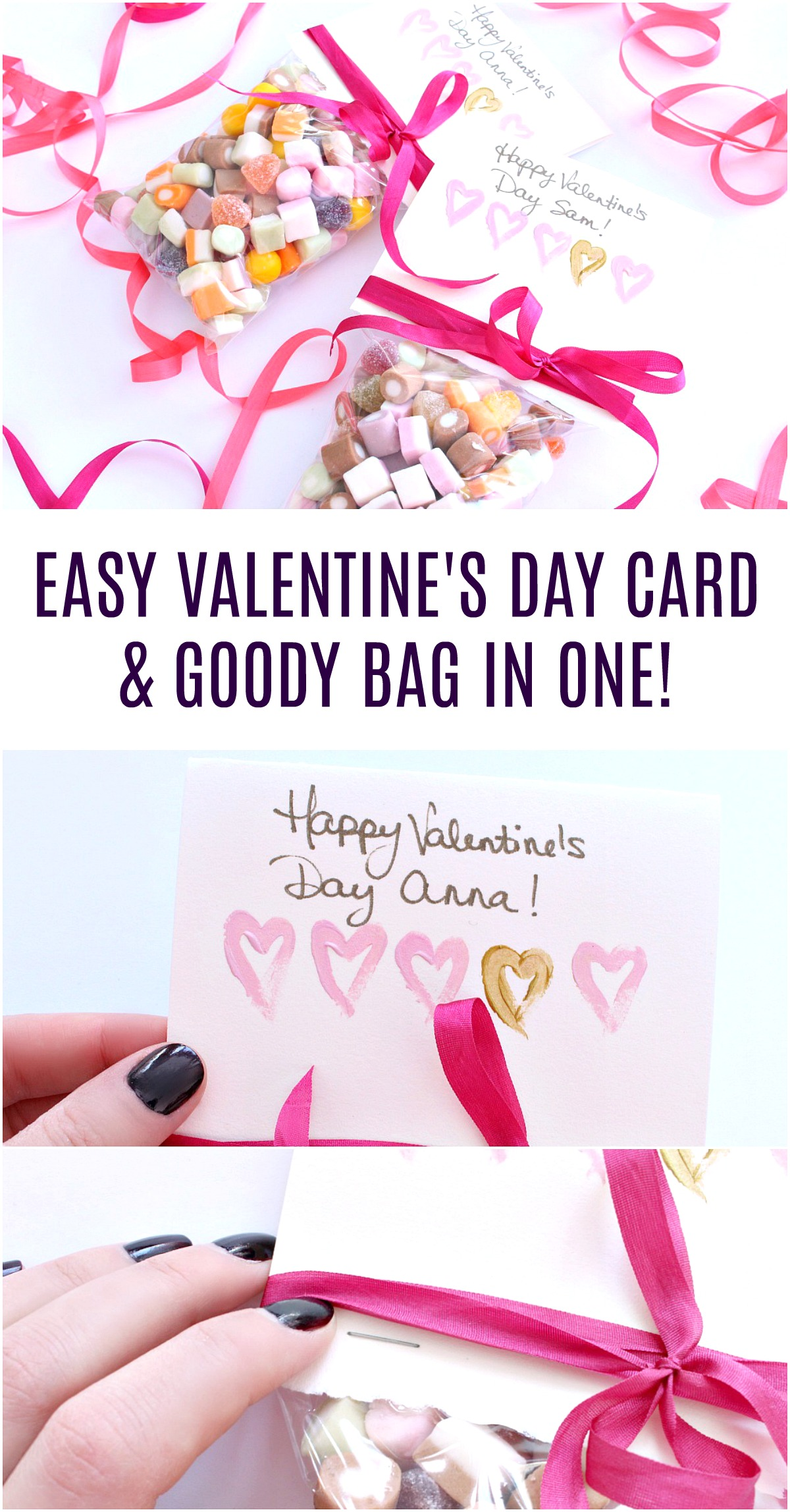 Easy to Make Valentine's Day Card and Goody Bag in One! #valentinesday #valentinecrafts #diyvalentinecard #papercrafts