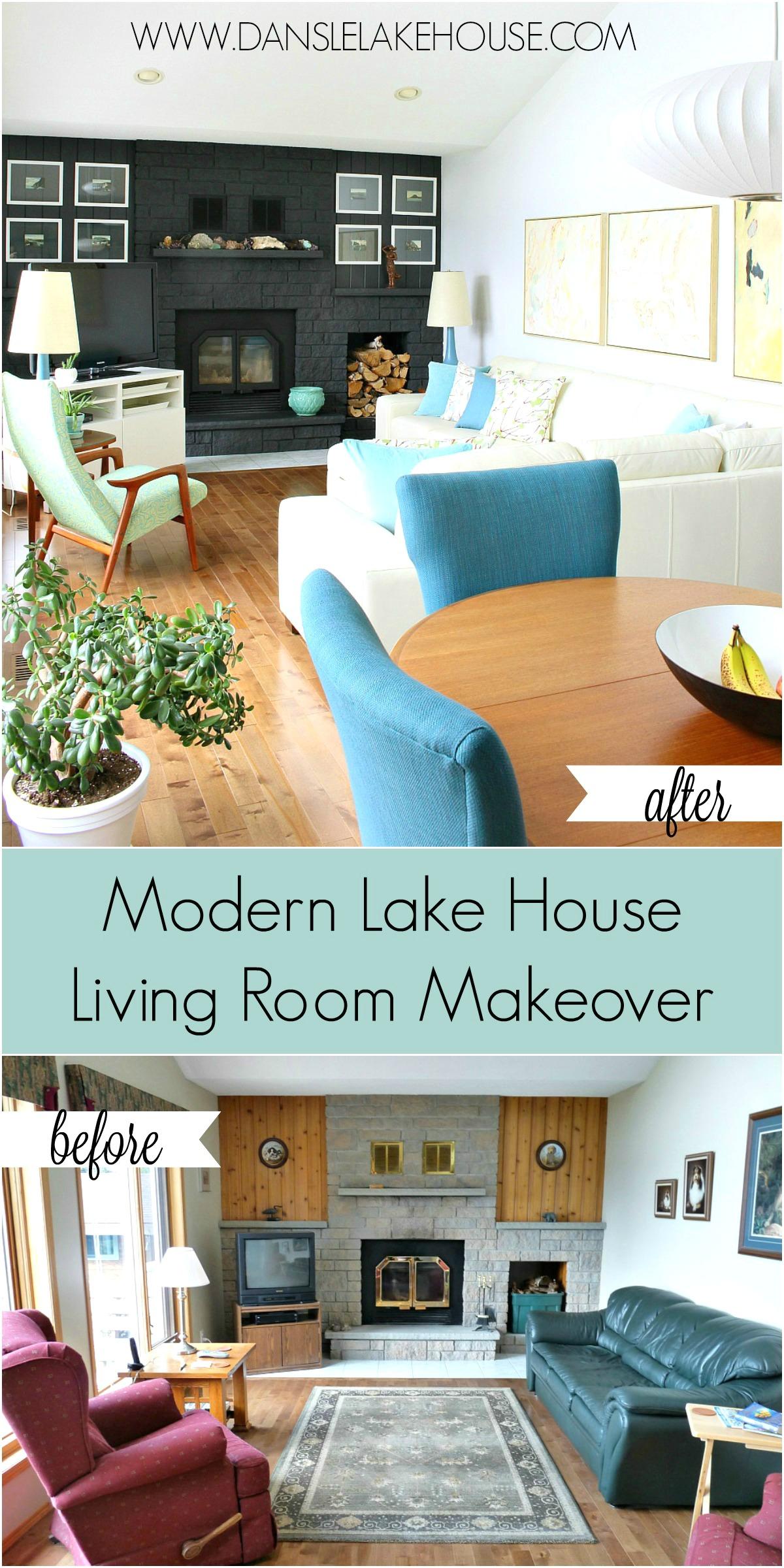 Modern Lake House Living Room Makeover