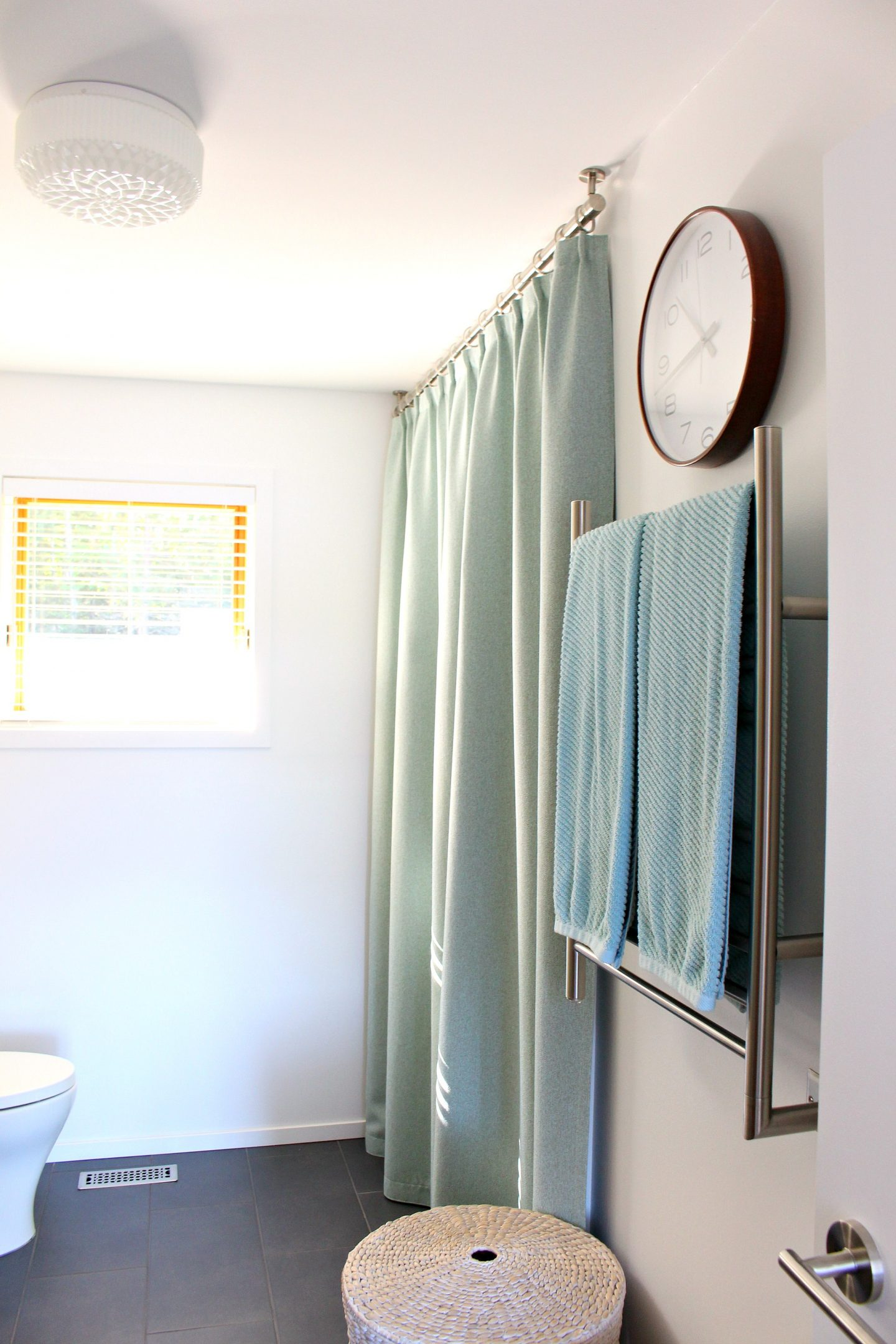 ceiling mounted shower curtain rod