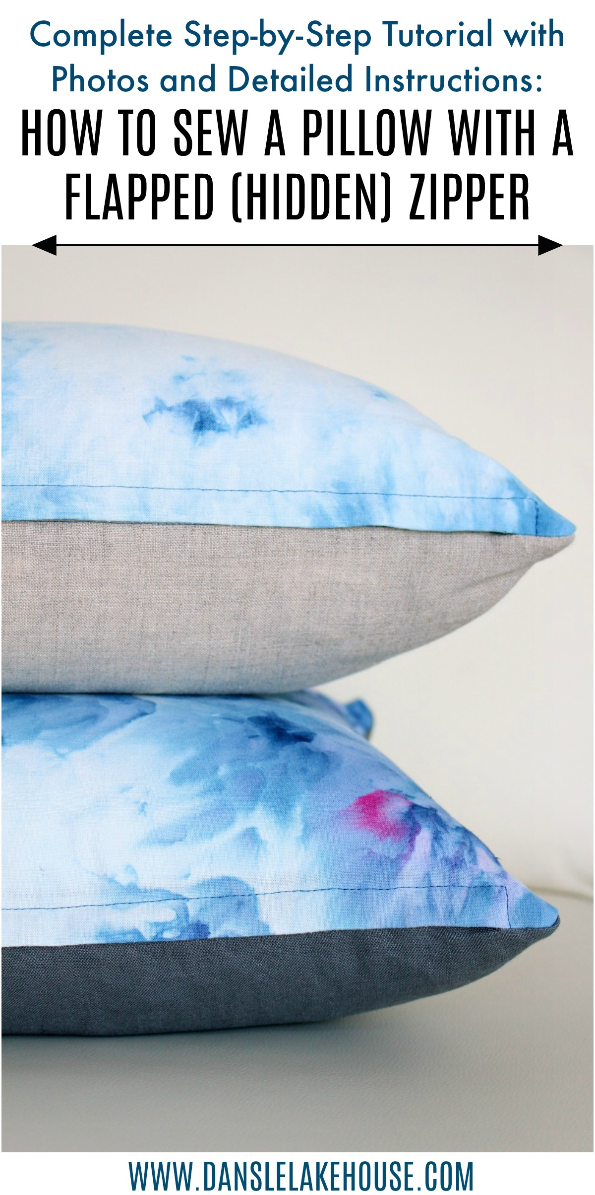 Learn How to Sew a Throw Pillow with a Zipper; How to Sew a Flapped (Hidden) Zipper. Complete and detailed tutorial with photos and instructions #diypillow #sewingtutorial #diy