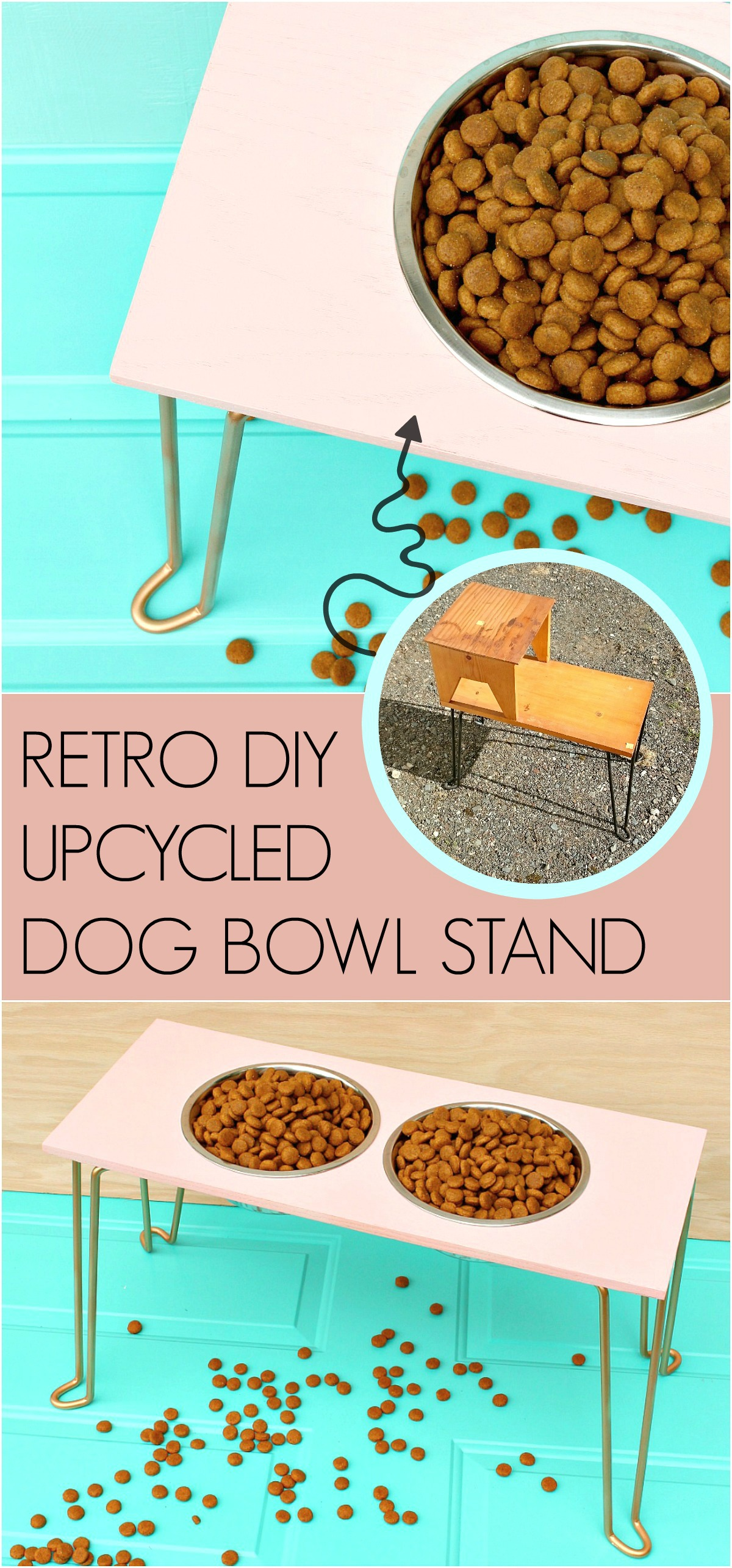 DIY dog bowl stand with hairpin legs