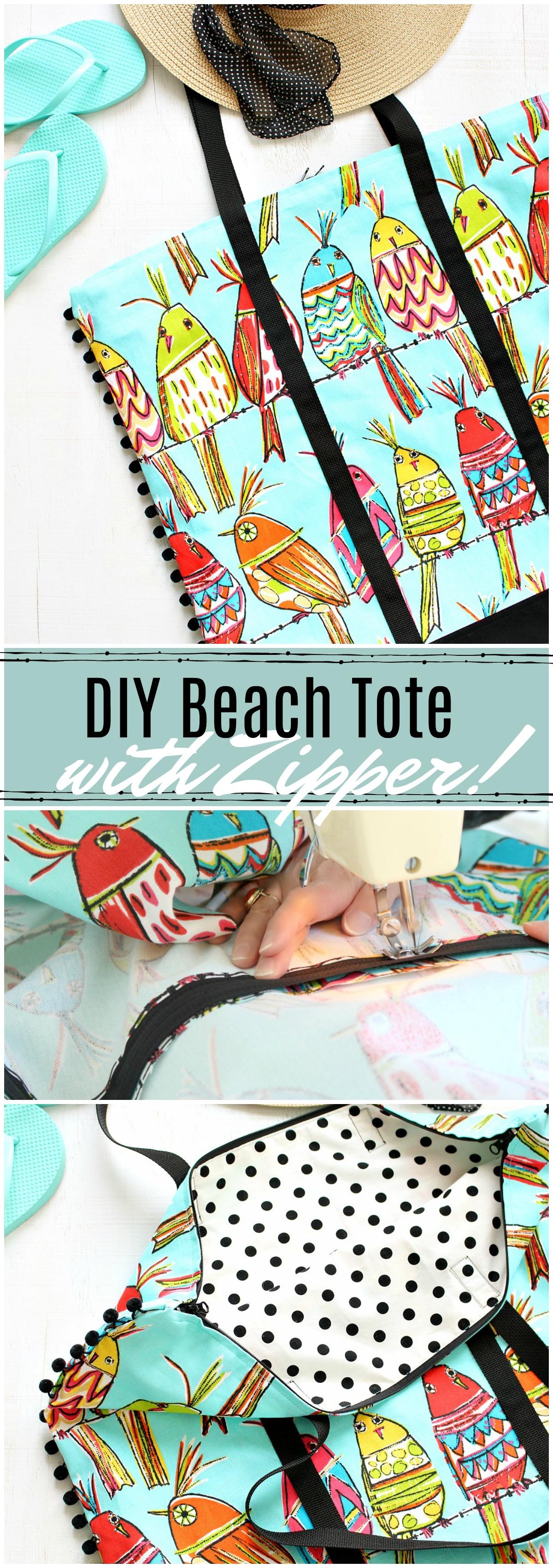 DIY beach tote with zipper