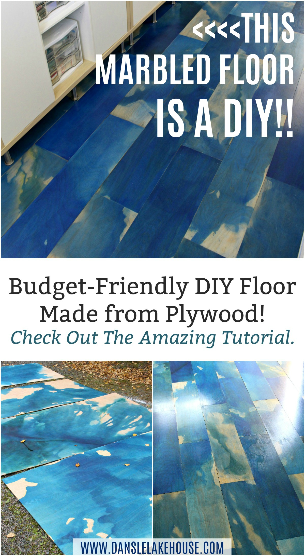 Learn how to make this AMAZINGLY COOL DIY Plywood Floor Using a Special Marbling Technique for Plywood. It's Surprisingly Easy, and a Budget Friendly Floor Idea. Make This DIY Floor in a Weekend! #diyflooring #plywood #diy #marbled #diyfloor