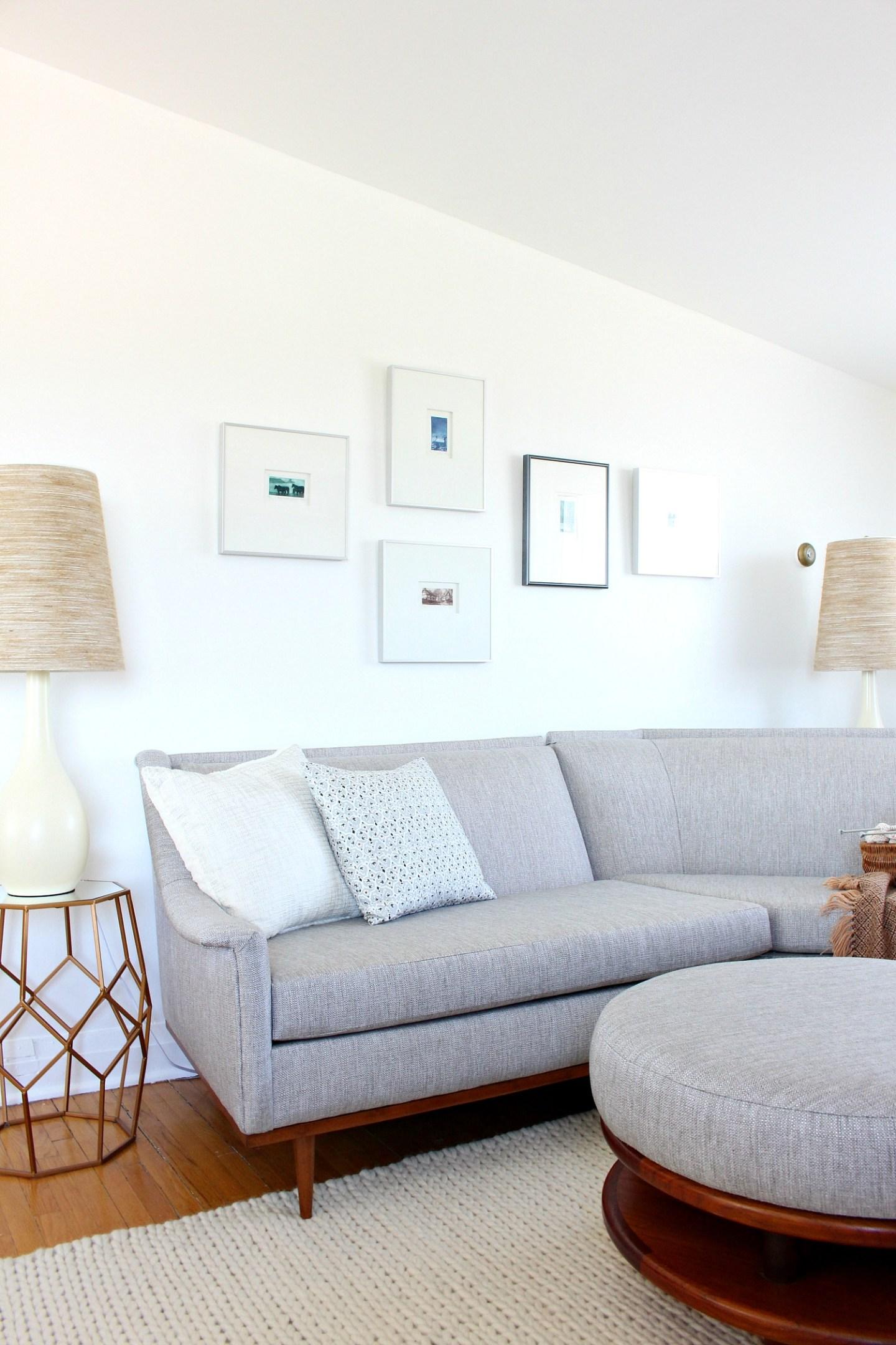 Grey Tweed Mid-Century Modern Sofa Makeover