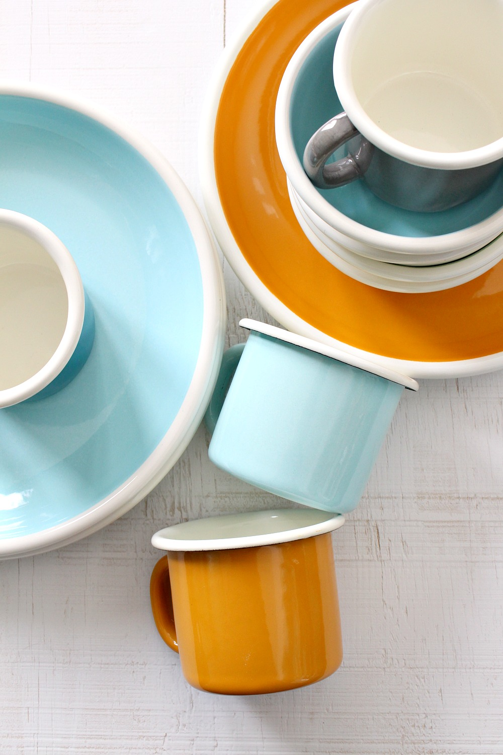 Retro Enamel Mugs and Plates