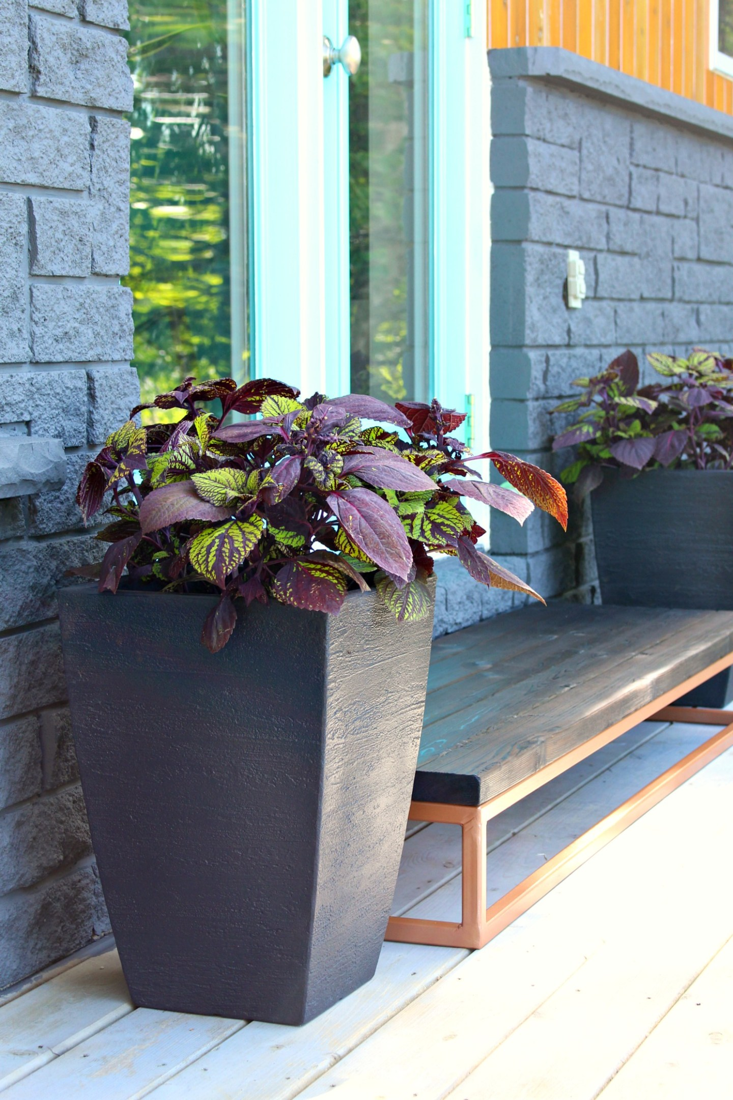 Modern Black Planters and a Patio Door Makeover