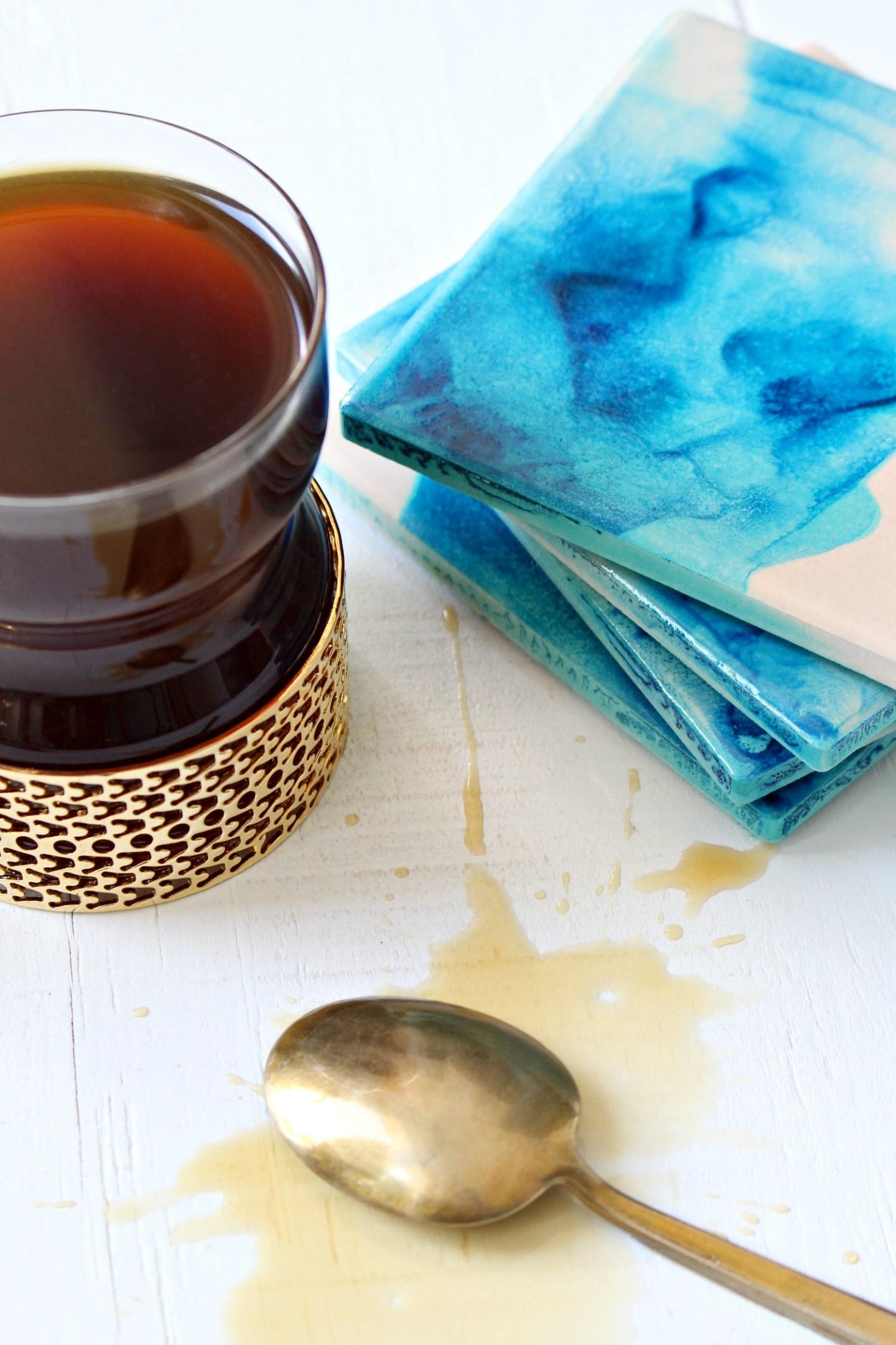 DIY Alcohol Ink Project Idea: Watercolor Coasters!