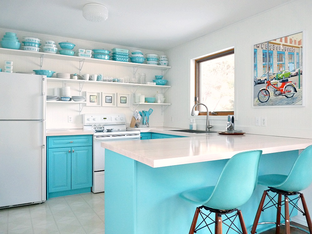 Turquoise Kitchen Cabinets and Open Shelving
