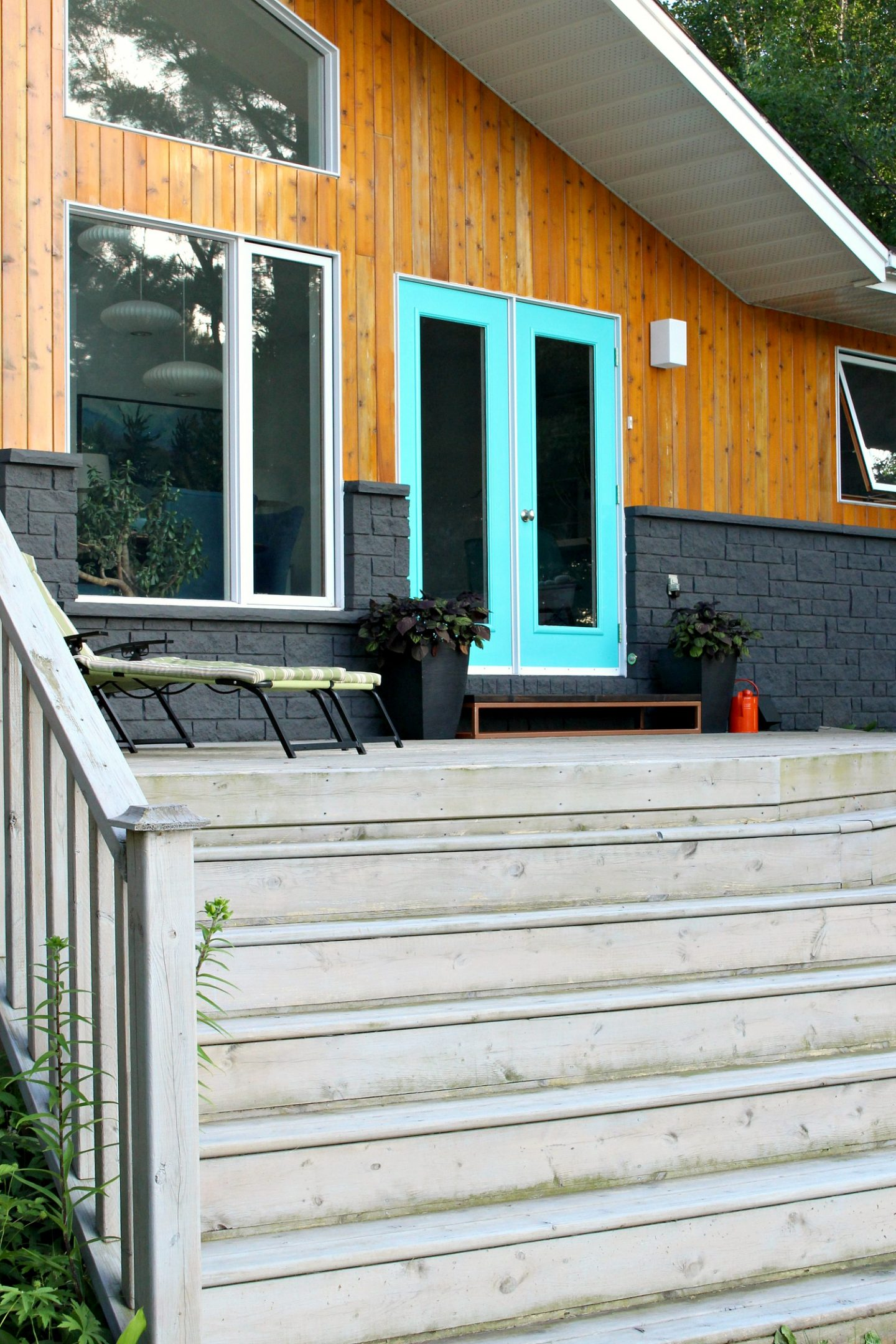 Charcoal Grey Painted Stone Exterior with Cedar Wood Siding