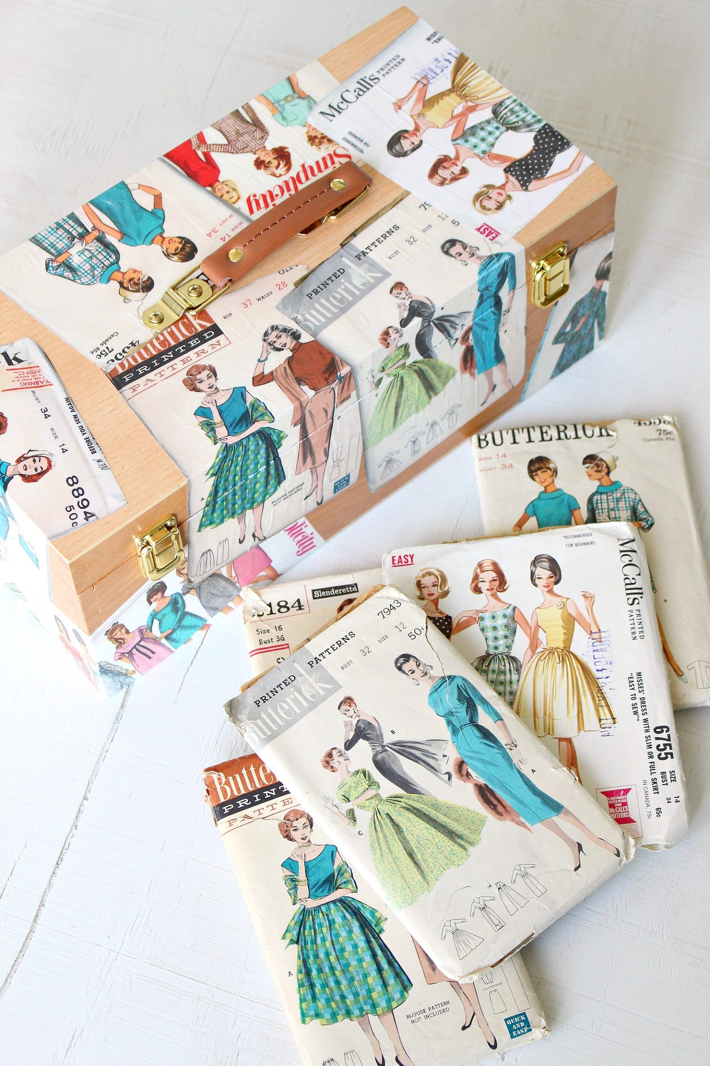 What To Do With Vintage Patterns: DIY Sewing Box Decoupage