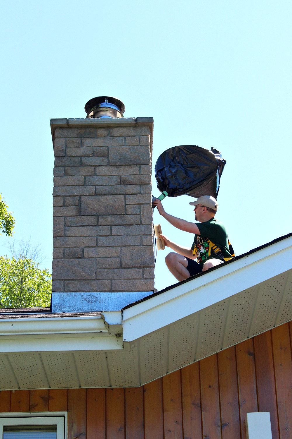 Using Fall Arrest Gear for Painting a Chimney