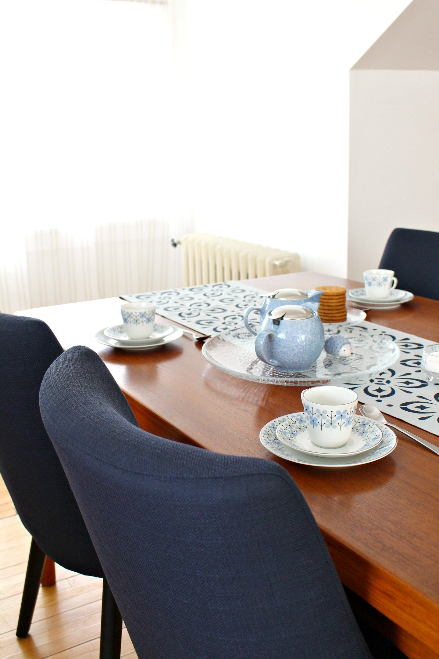 Indigo Dining Room Tablescape Place Setting