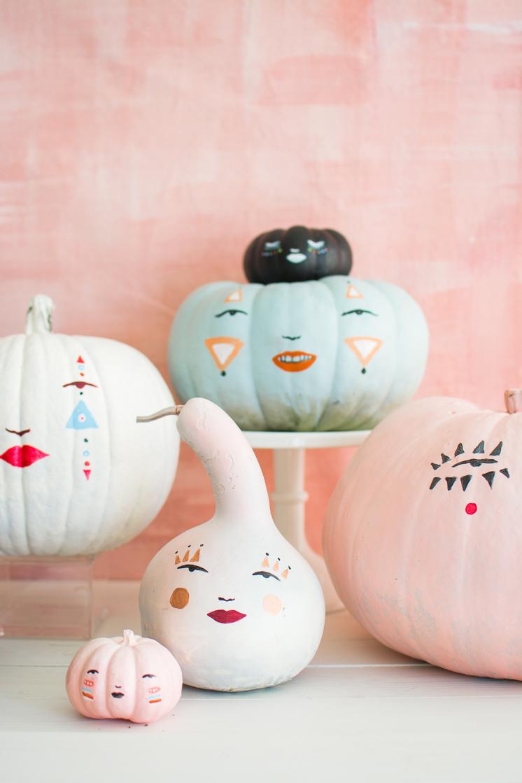 Pastel Pumpkin Face Pumpkins
