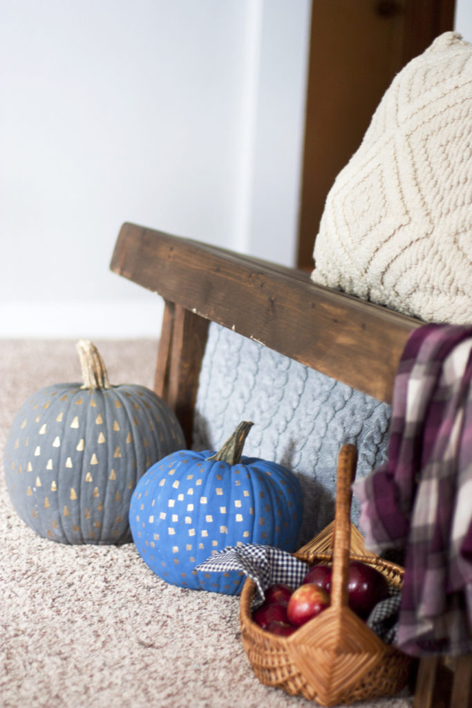 Gold Patterned Painted Pumpkins