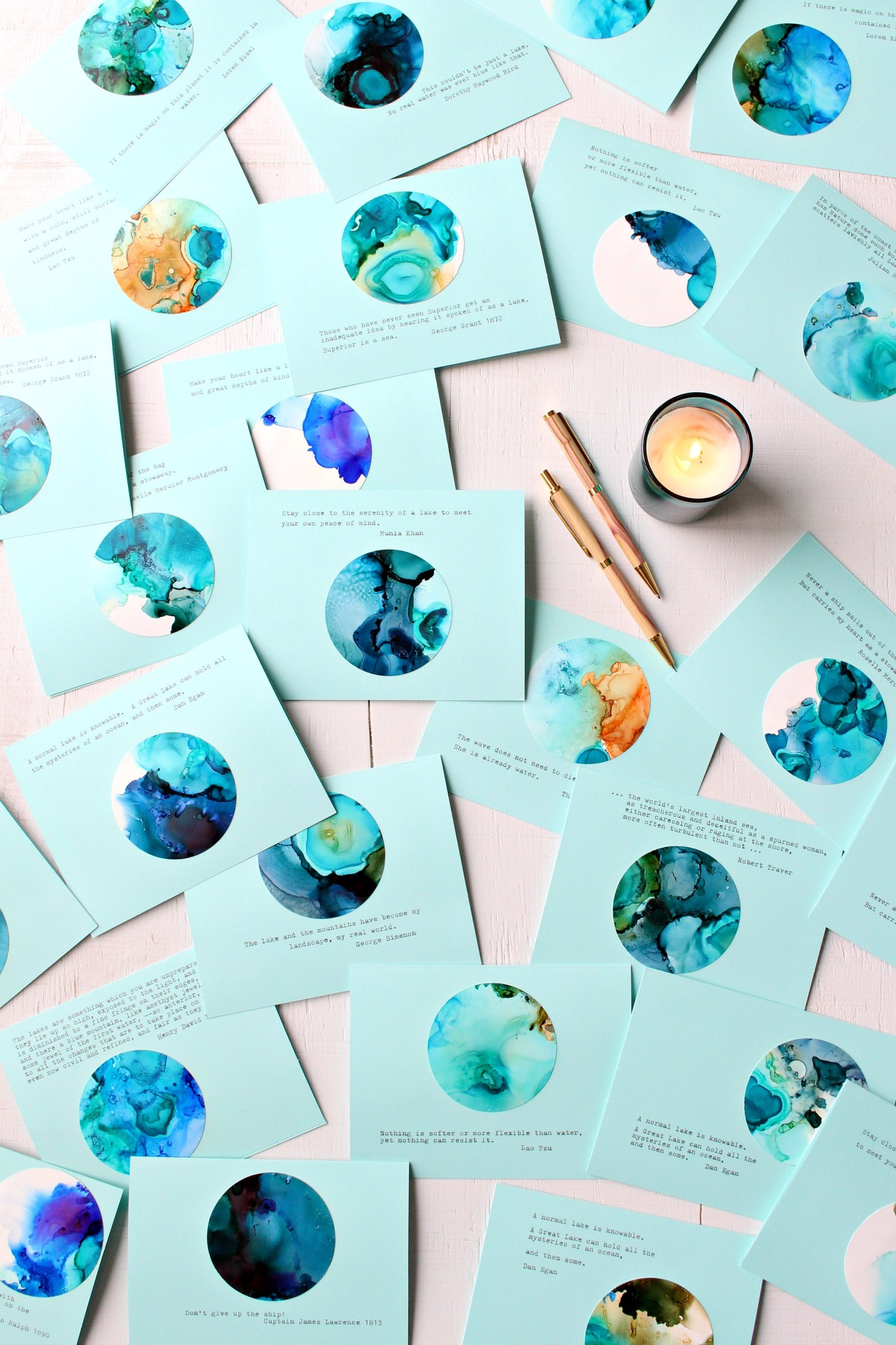 Handmade Lake Superior Note Cards - Learn How to Make These DIY Alcohol Ink Note Cards with Lake Superior Vibes