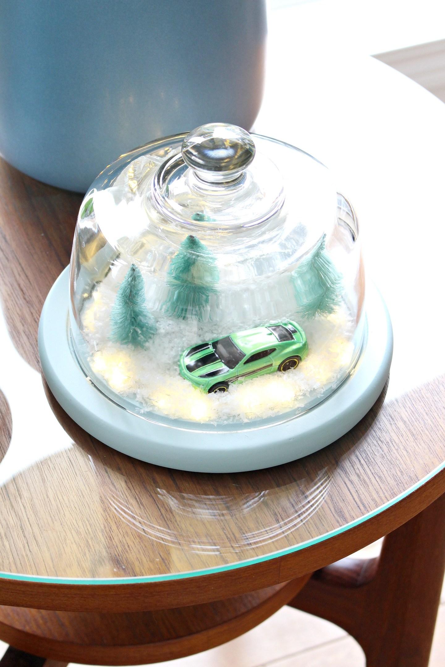 DIY Winter Diorama | aka The Camaro Cloche. Make this easy winter decor using a thrifted cheese cloche. A very Camaro christmas haha! #diy #holidaydecor