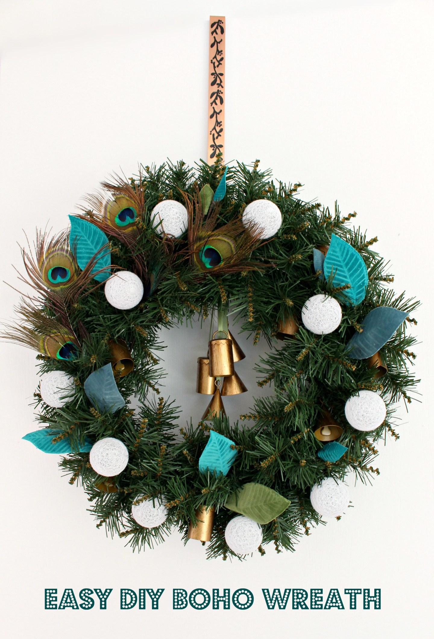 DIY Boho Wreath with DIY Embossed Velvet Leaves
