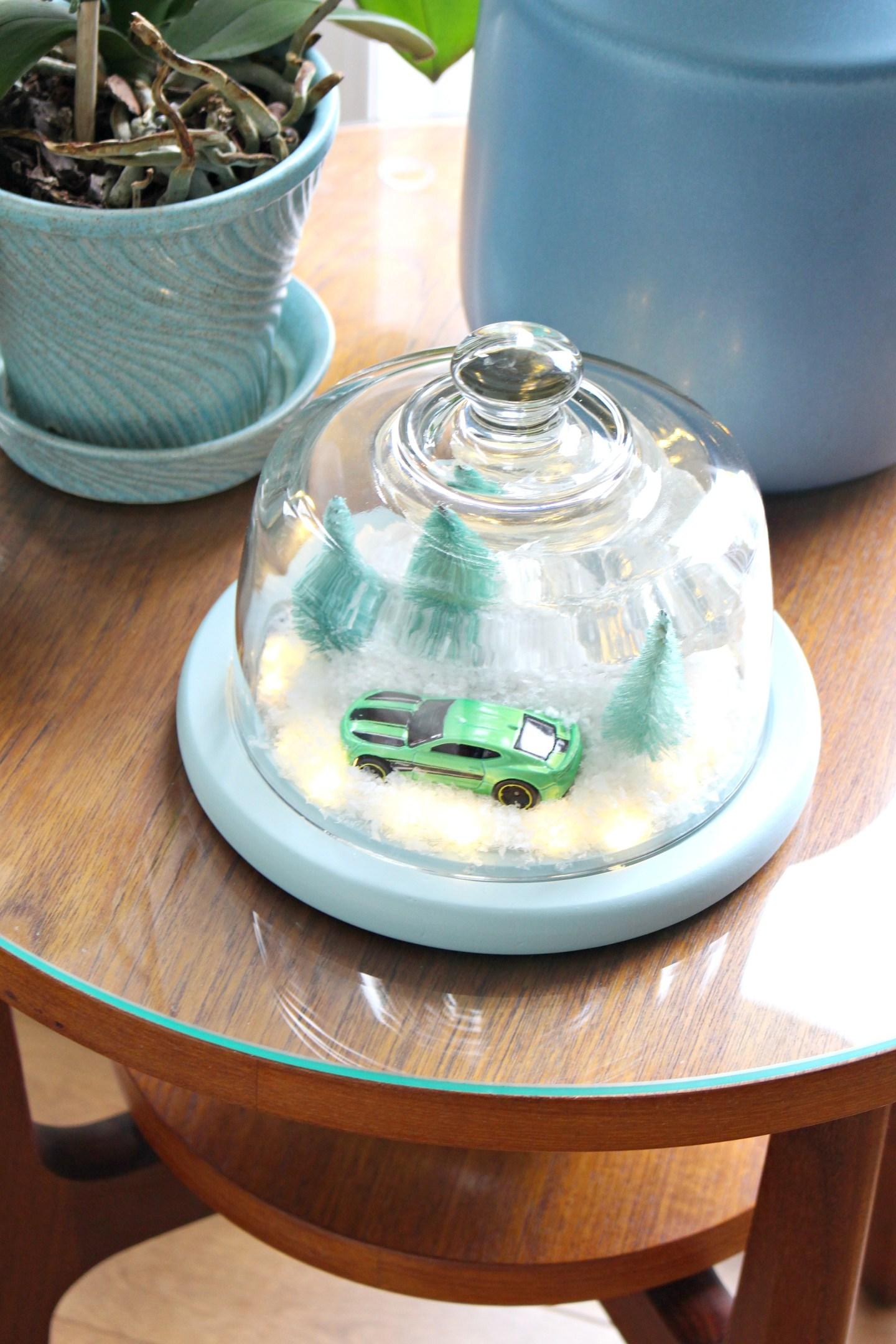 DIY Winter Diorama | aka The Camaro Cloche. Make this easy winter decor using a thrifted cheese cloche. #diy #holidaydecor