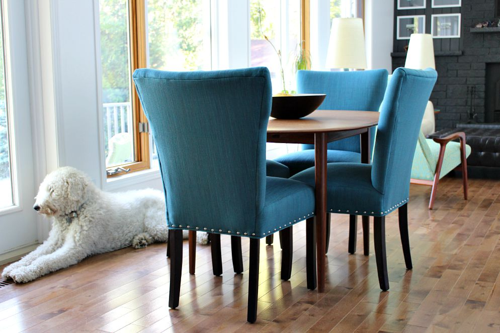 Blue Tweed Dining Room Chairs