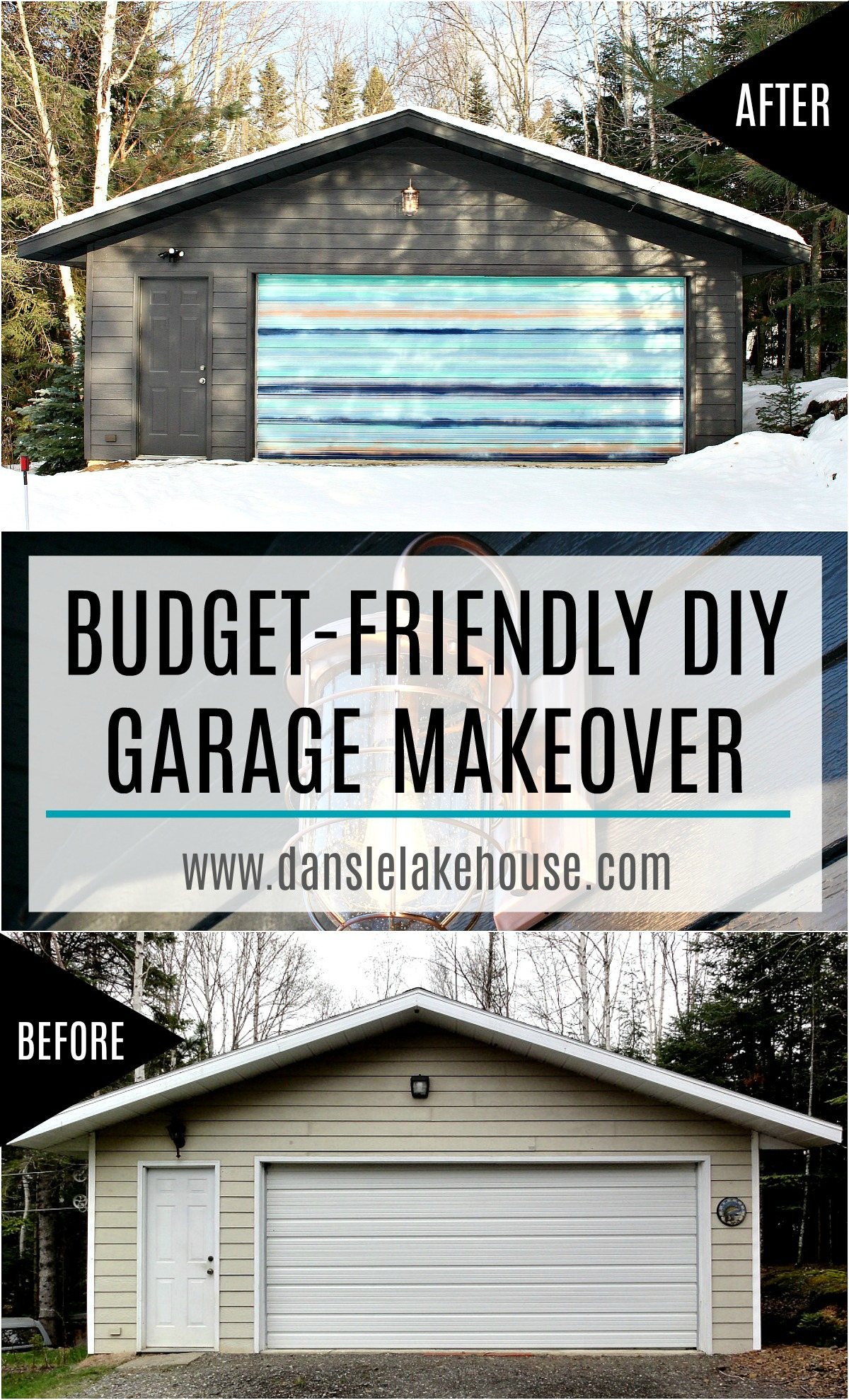 Budget-Friendly DIY Garage Makeover with Painted Soffit and Fascia, Painted Siding and Mural. Dark Grey Brown Siding and Copper Ferry Light #exteriorreno #garagemakeover #garageinspiration