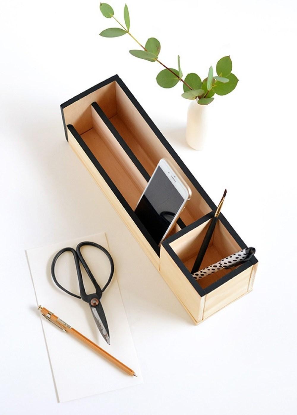 DIY Desk Organizer   15 Stylish DIY Projects for Organizing Your Home #organizing #diy #diyhome #clutterbustingtips
