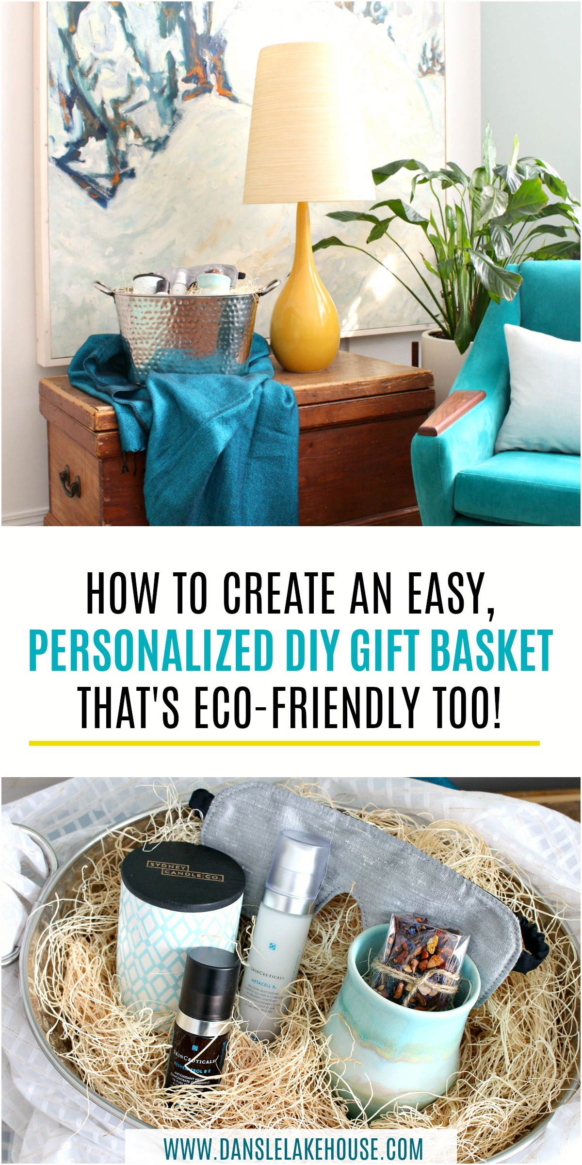 DIy Personalized Gift Basket Idea for Women to Help Beat the Winter Blues! Tips for Making a Gift Basket that's Eco-Friendly with Less Waste! Great Upcycling Idea too! #ad #diy #giftideas #giftbasket