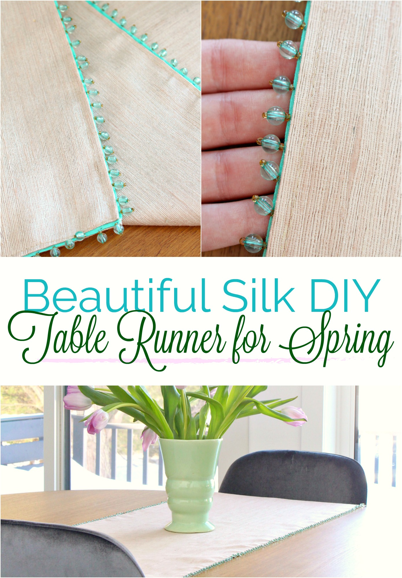 Learn how to sew this beautiful DIY spring table runner with tips on how to baste and sew glass bead trim. Such a sweet sewing project idea! #springdecor #sewing #tablerunner #diysewing