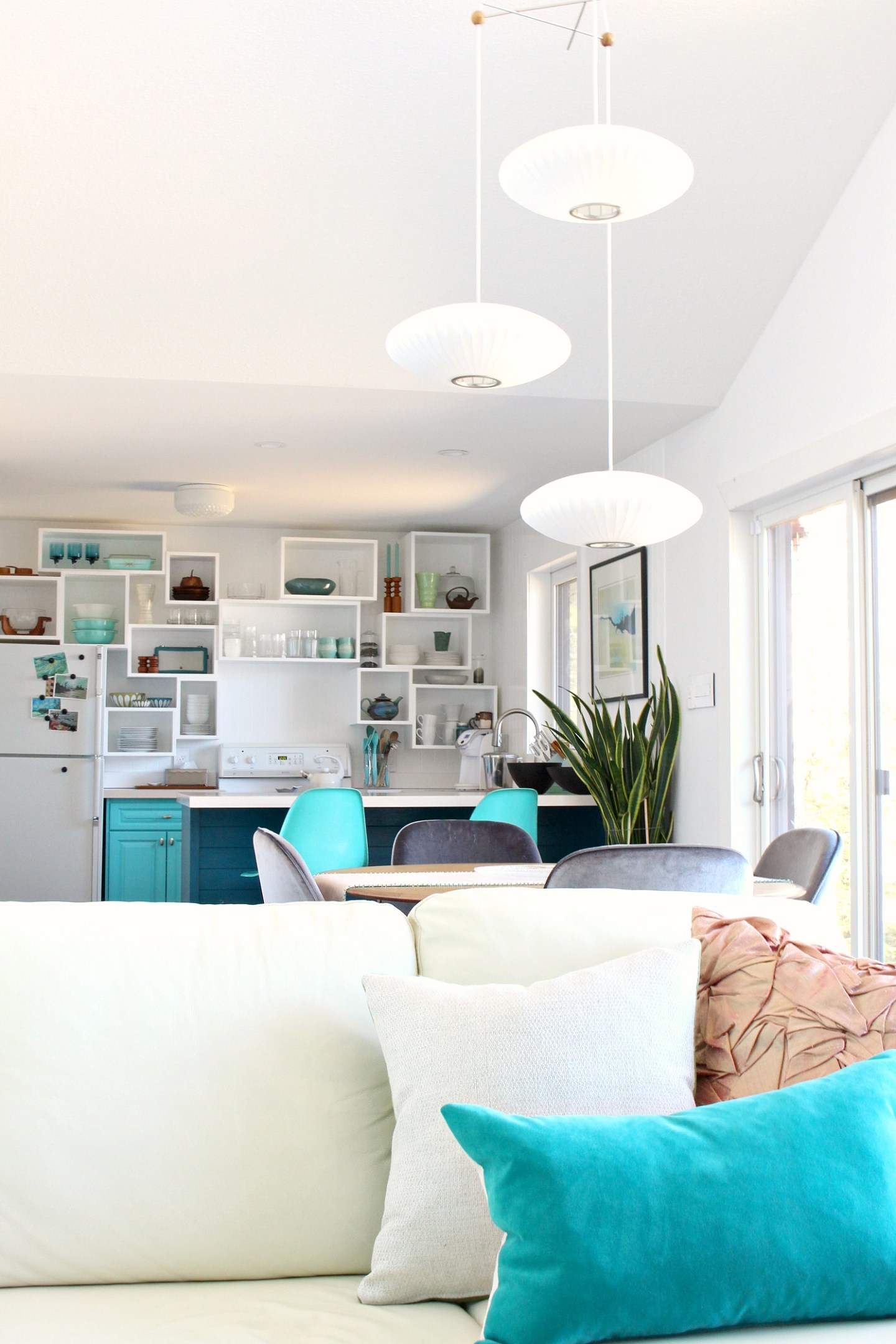 Bright Bold DIY Kitchen Design Ideas with Open Shelving Ideas and Tutorial for DIY Wall Cubbies