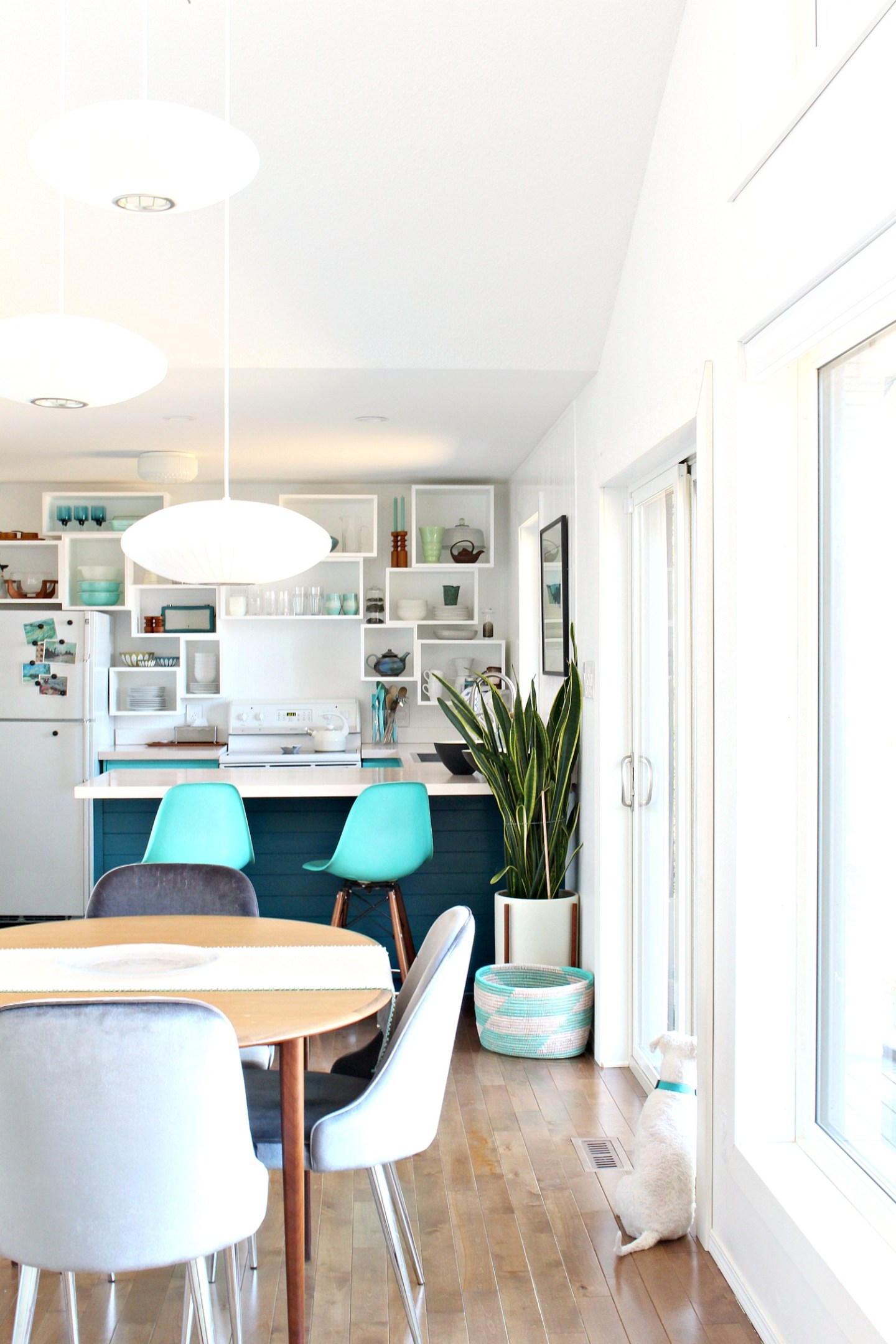 How to Build Wall Cubbies   Fresh Take on Kitchen Open Shelving. Teal Kitchen Design with Unique Spin on Open Shelving #openshelving #kitchen #diykitchen
