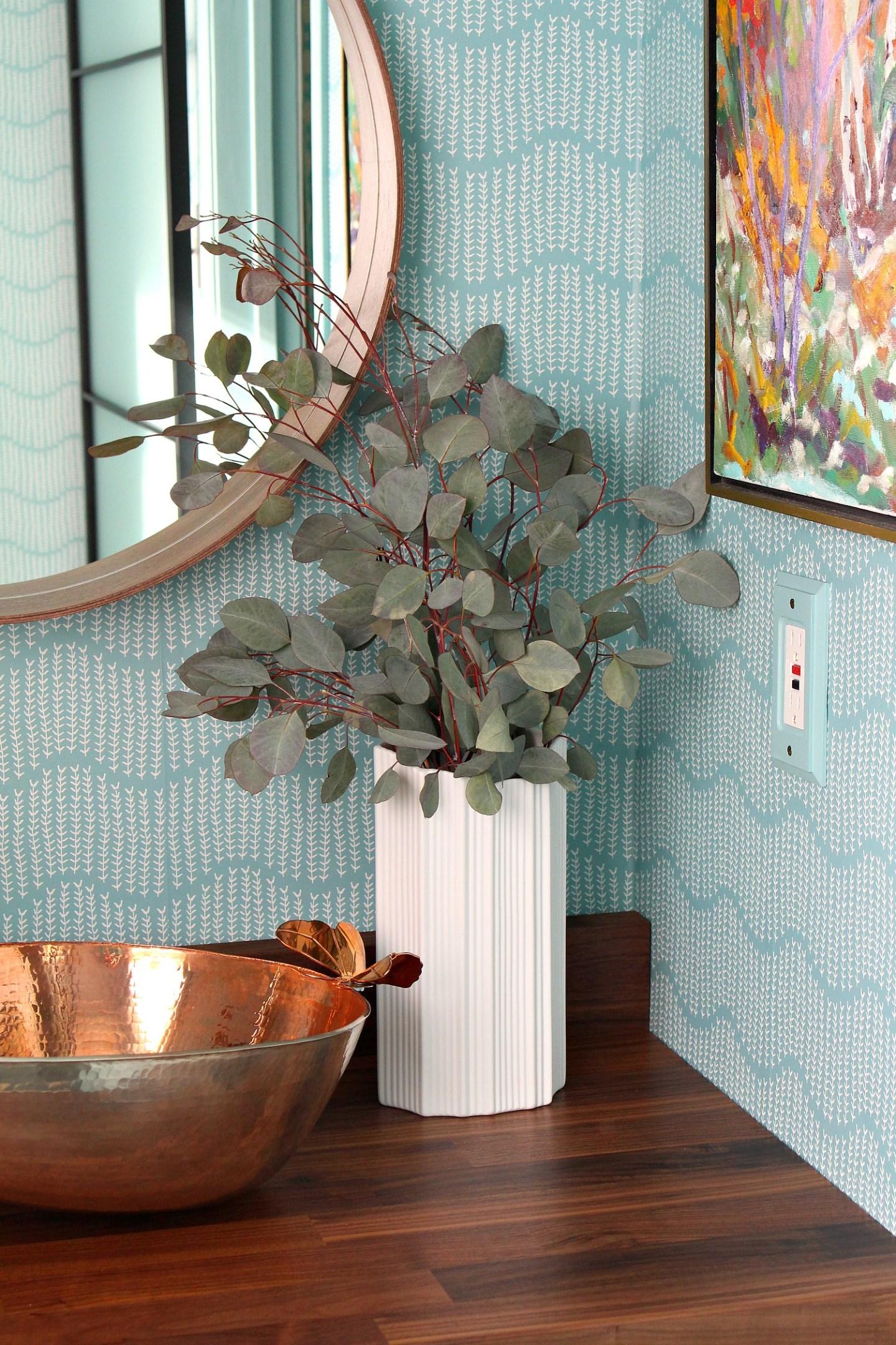 Spoonflower Wallpaper - Turquoise Sprigs on Ocean Pattern