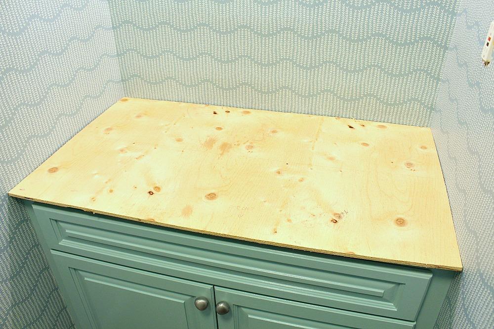 Installing DIY Counter in Bathroom Against Three Walls