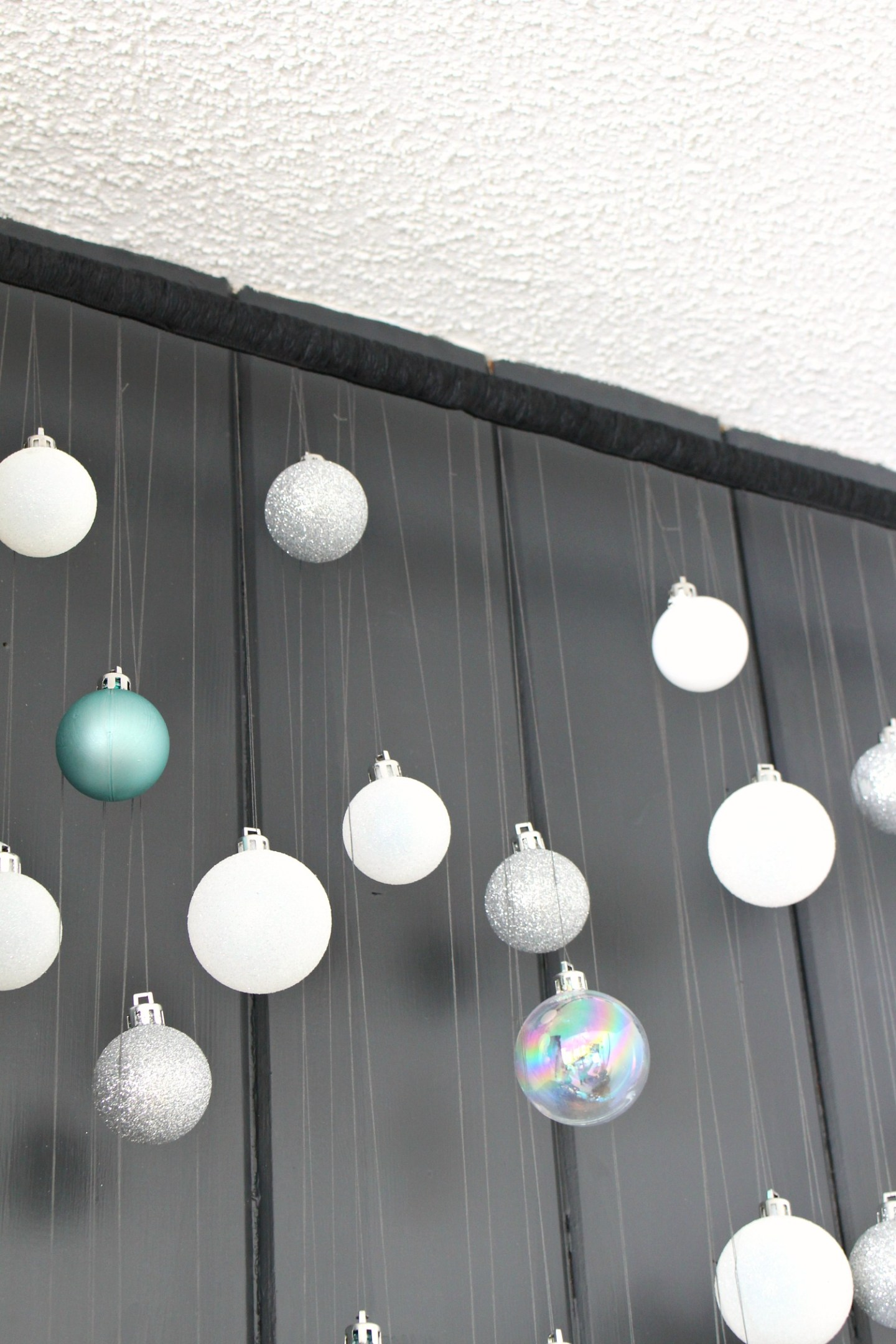 Hang Ornaments from Curtain Rod