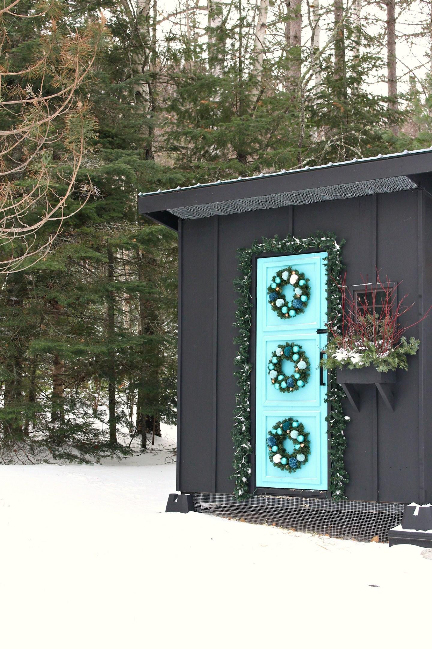 Easy DIY Pom Pom Wreath + My Holiday Chicken Coop Decor