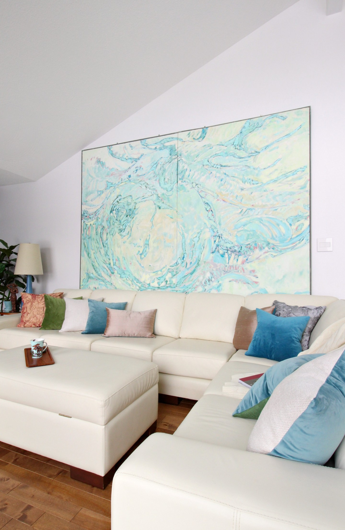 Large Coastal Painting in Turquoise and Blues