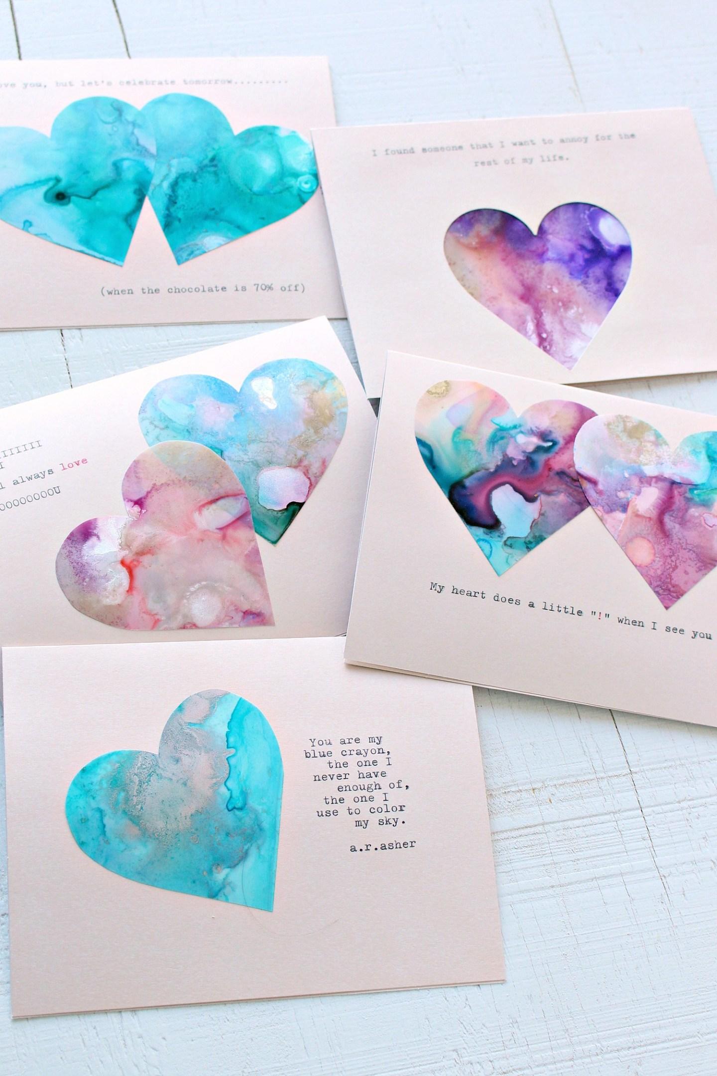 Marbled DIY Valentine's Day Cards