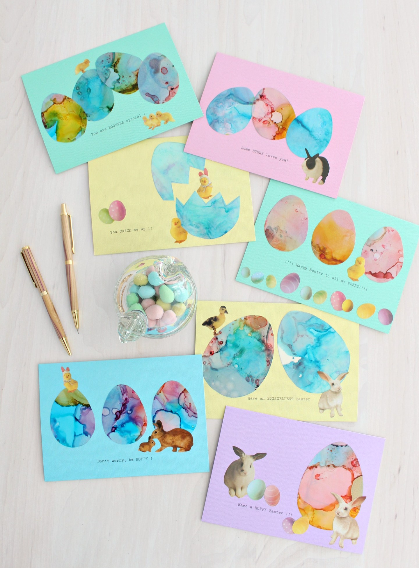 alcohol ink easter cards