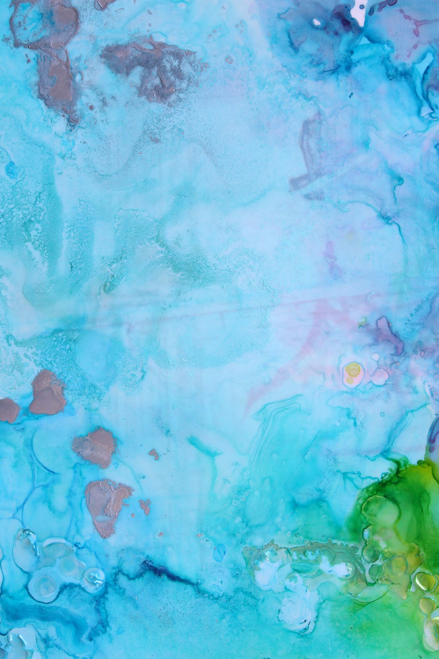 turquoise alcohol ink art
