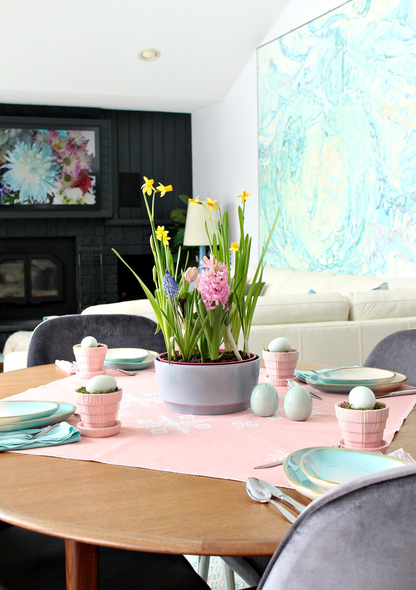 thrifted spring tablescape