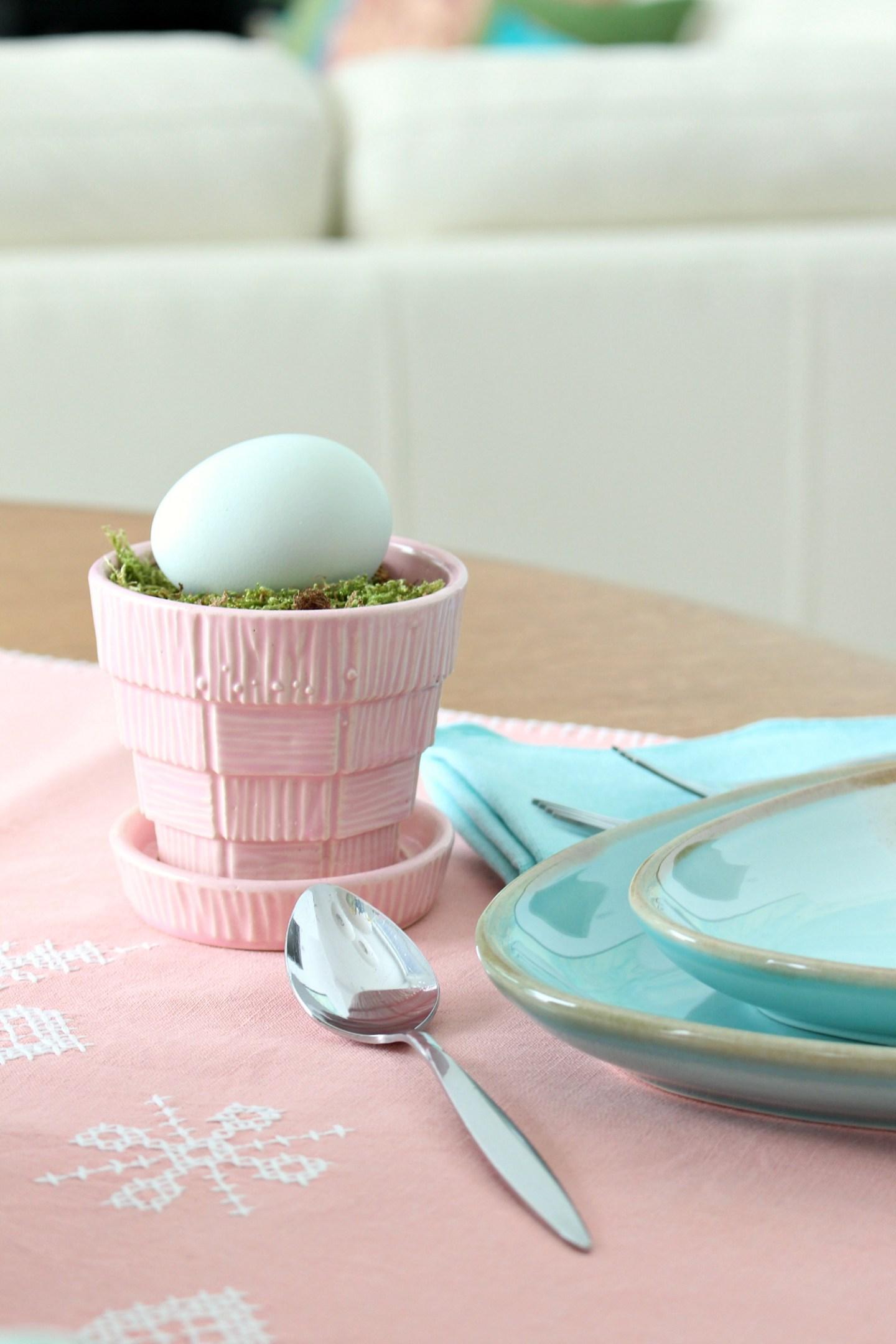 pink basketweave McCoy planter