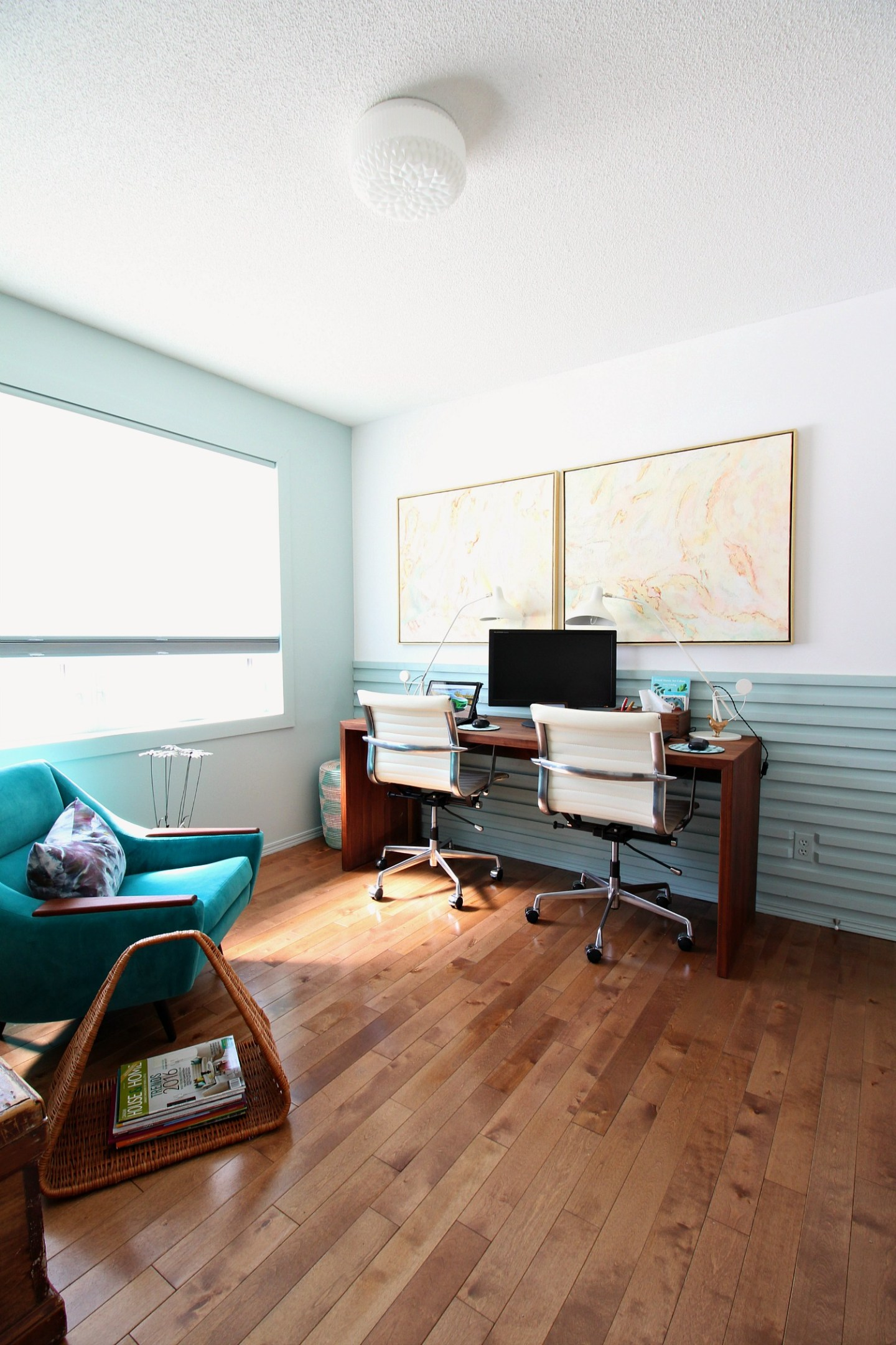 DIY Horizontal Slatted Wall in the Office