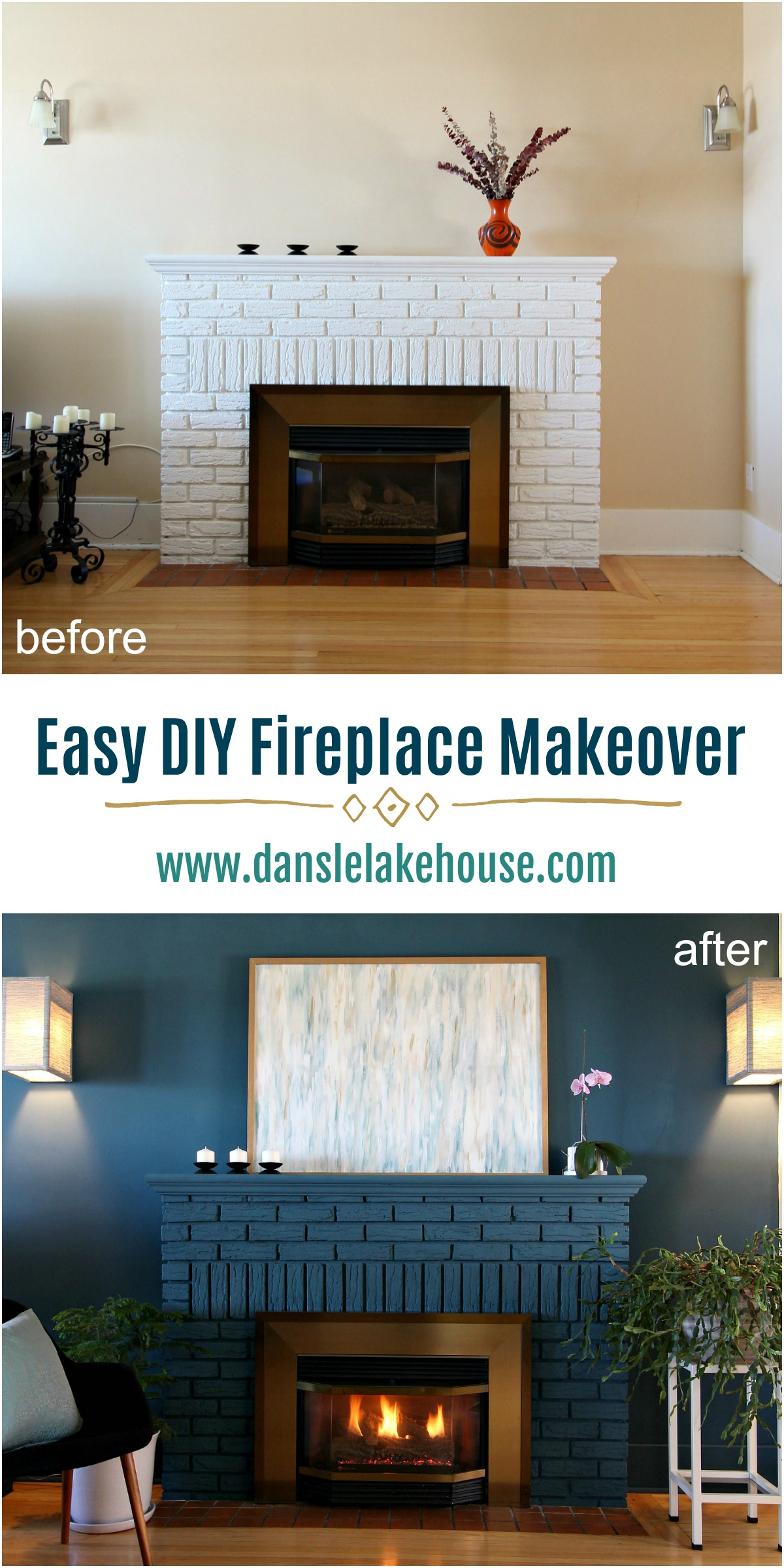 Bold Blue Painted Fireplace Makeover Using Chalk Paint