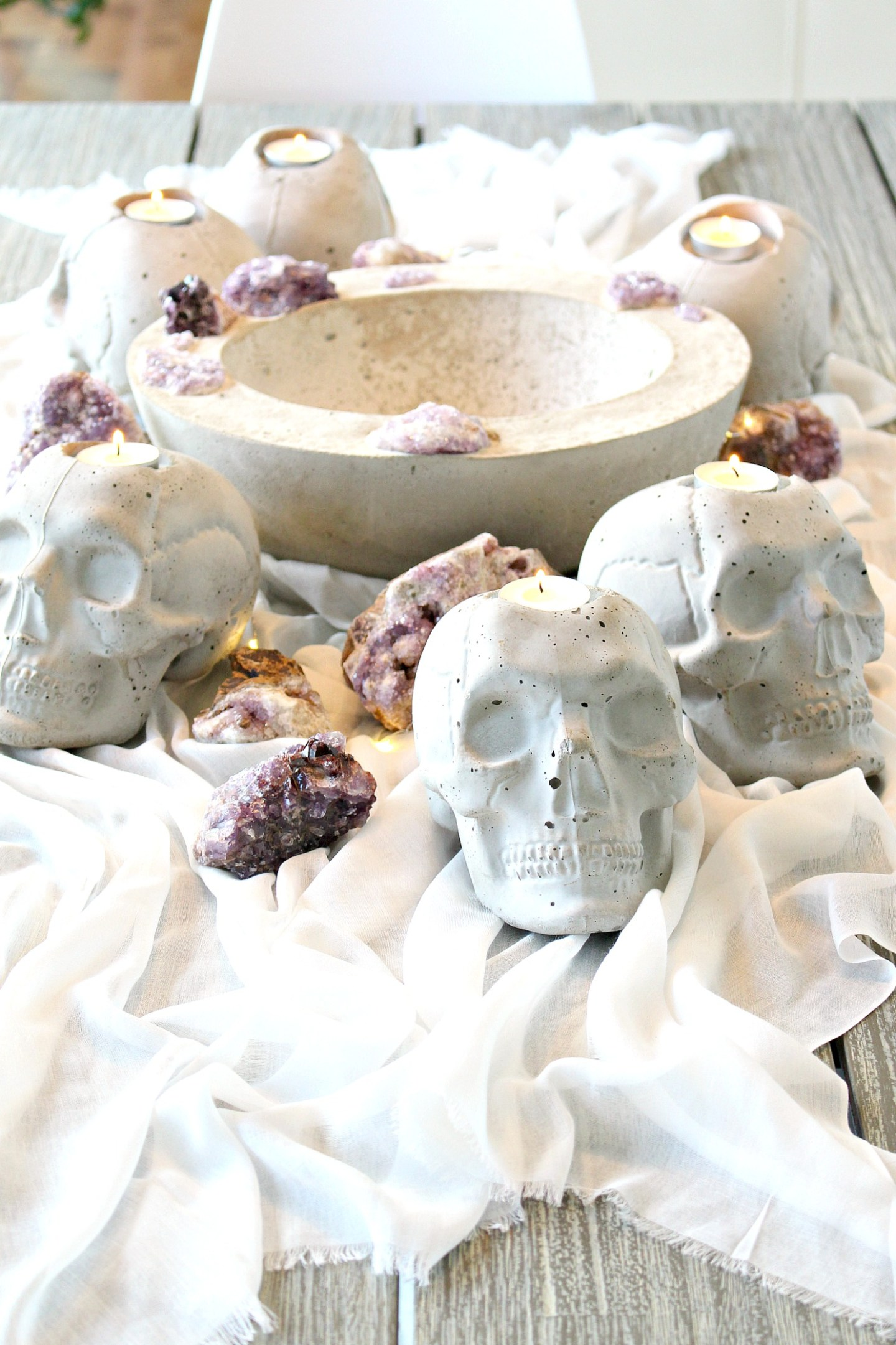 Concrete Skull Candle Holder